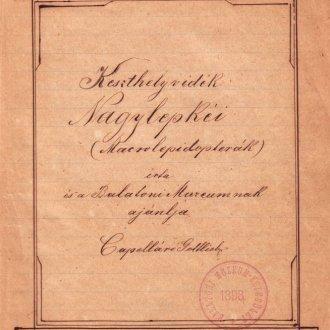 Kapelláró 1920-21-ben írt keszthelyi faunajegyzékének címoldala