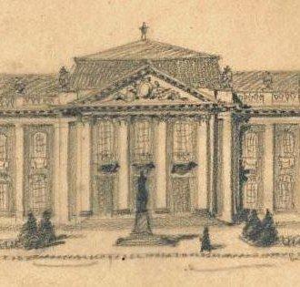 A Balatoni Múzeum főhomlokzatának első terve