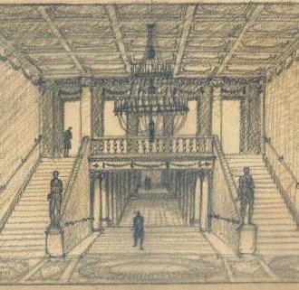 A főlépcsőház (Györgyi Dénes terve a Balatoni Múzeum gyűjteményéből)