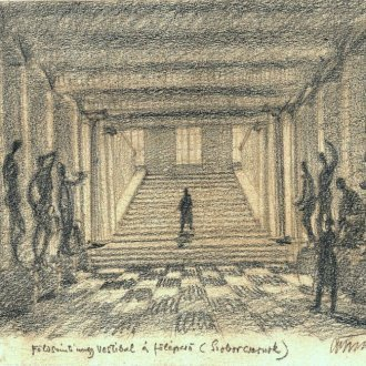 Földszinti nagy vestibul és főlépcső