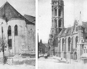A Mátyás templom Schulek Frigyes átalakítása előtt és után