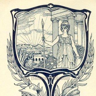 Ex libris Pallasz Athéné ábrázolásával