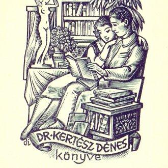 Férj és feleség meghitt pillanata Drahos István ex librisén
