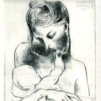 Anya gyermekével Nechánszky József alkotásán (1970)