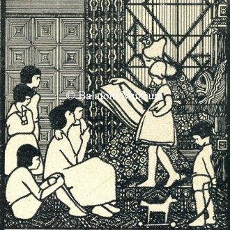 Királynő gyereksereggel egy szecessziós ex librisen
