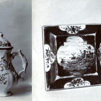 Kávés, teás kannák és porcelándoboz, látképes, virágmintás dísszel festve a Darnay-gyűjteményből