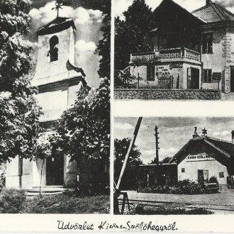 A kisörsi állomás egy 1930-as évekbeli képeslapon (Magyar Kereskedelmi és Vendéglátóipari Múzeum)
