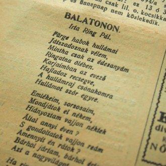 BALATON Ring Pál: Balaton című verse a Keszthelyi Hírlapban
