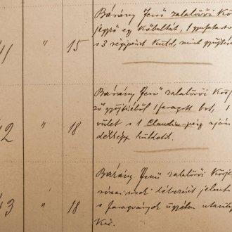 Részlet a Balatoni Múzeum-Egyesület Iktatókönyvéből