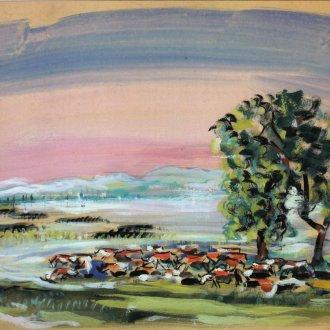 Boromisza Tibor: Balaton-Fenékpuszta este. A csorda (1948)