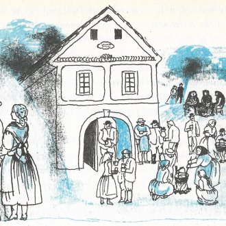 """Vendel-napi borkóstoló  a somlói Vadász Mihály présházánál - Illusztráció """"Az elrabolt menyasszony"""" című elbeszélésből"""