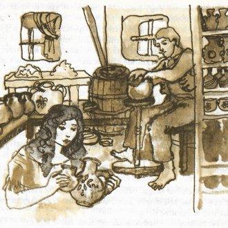 """Írókázás és korongozás Bodó Sándor műhelyében – """"A sümegi fazekas"""" című történet jelenete"""