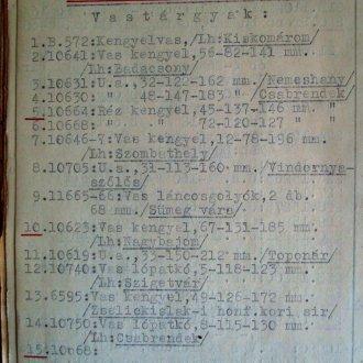 Az 1947-es veszteséglista részlete