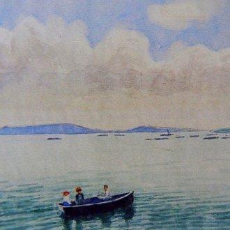 Csónakázók a Balatonon – Cholnoky Jenő festménye