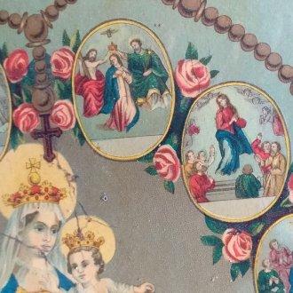 Mária életét bemutató olajnyomatról: halála (j.) és megkoronázása (b.)