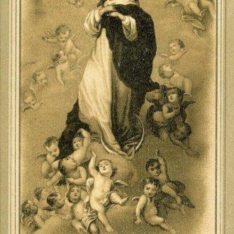 """Mennyország királynéja ábrázolással ellátott kis szentkép """"Dicsteljes menyország királynéja"""" felirattal a Balatoni Múzeum népi vallásosság gyűjteményéből"""
