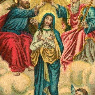 A Balatoni Múzeum gyűjteményéből: Mária megkoronázása. Kis színes szentkép. A holdsarlón álló Máriát megkoronázza az Atya, a Fiú és a Szentlélek