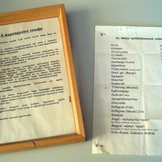A kapuügyelet szabályzata és az iskola központi telefonjának mellékállomásai