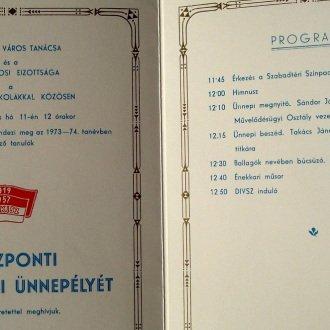 Az 1974. évi központi ballagási ünnepély meghívója