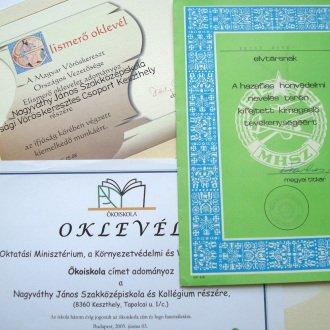 """7. kép - Fontos minősítés volt az intézmény számára Pécsi Ottó tanár úr kitüntetése a honvédelmi klubban végzett munkájáért, az ifjúsági vöröskeresztes csoport kitüntetése és az """"Ökoiskola"""" cím 2005-ben"""