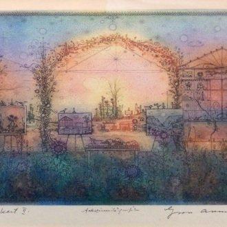 """Gross Arnold """"Tordai kert II."""" című rézkarcának nyomata Erdélyt idézi fel."""