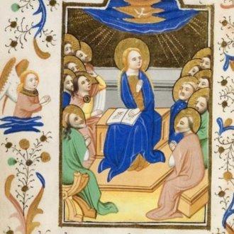 Bout család hórás/zsoltároskönyvének illusztrációja 1453-ból. Forrás: www.kb.nl