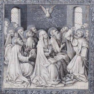 Pünkösd Philip of Burgundy hóráskönyvében, 1450-1460 körül. Forrás: www.kb.nl
