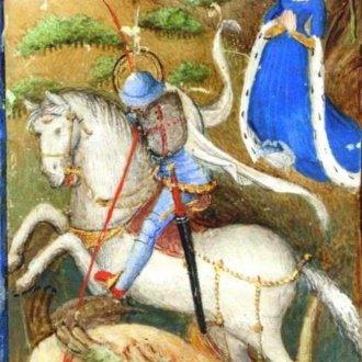 Szent György legyőzi a sárkányt. Book of Hours by the Master of Zweder van Culemborg 1430s (Forrás: www.kb.nl)