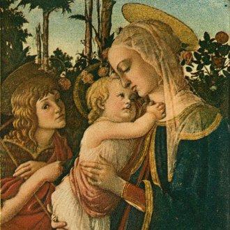 Madonna és a gyermek az ifjú Keresztelő Szent Jánossal, Botticelli festményének másolata. Kis színes szentkép Darnay-Dornyai Béla hagyatékából. Hátoldalán: Hálát adok Neked Uram Istenem… VASMISÉM EMLÉKÉRE. GYENESDIÁS, 1956.VI.24. Papp Antal ny. pléb. (https://mandadb.hu/tetel/311703/Szentkep_Madonna_es_a_gyermek_az_ifju_Keresztelo_szent_Janossal)
