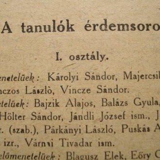 Részlet a tanulók névsorából, 1919/20