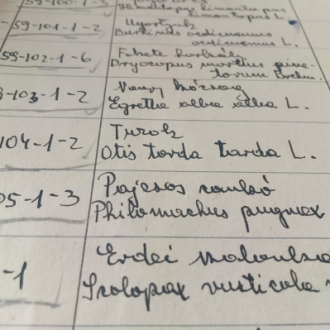 A természettudományi leltárkönyv részlete